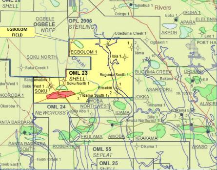 Map of oilfield